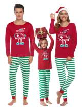 Aibrou Family Matching Christmas Pajamas Set Holiday Sleepwear Striped Pjs for Women/Men/Boys/Girls