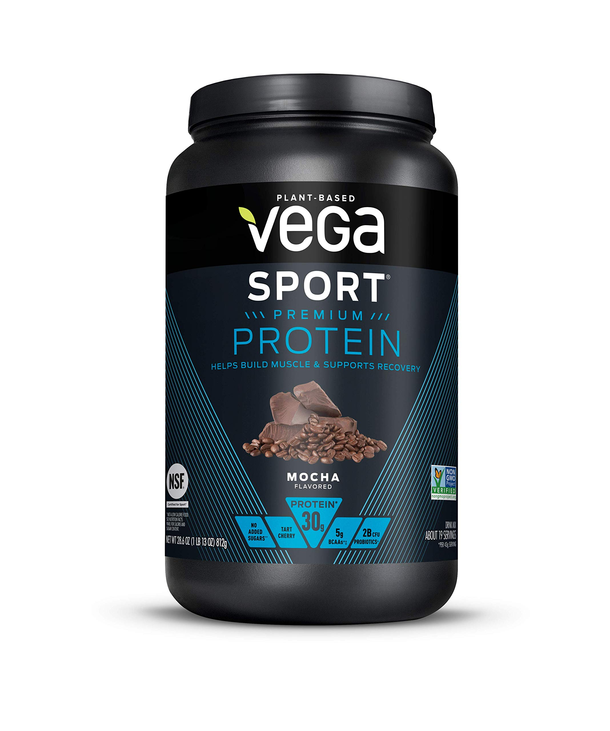 Vega Sport Protein Powder Mocha (19 Servings, 28.6 Ounce) - Plant-Based Vegan Protein Powder, BCAAs, Amino Acid, tart cherry, Non Dairy, Keto-Friendly, Gluten Free,  Non GMO (Packaging May Vary)