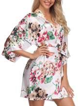 Giova Women's Floral Kimono Robe Short Flower Print Dressing Gowns Bride Bridesmaids