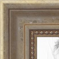 ArtToFrames 18x36 inch Aged White Gold with Beaded Detailing Wood Picture Frame, WOMD8808-18x36