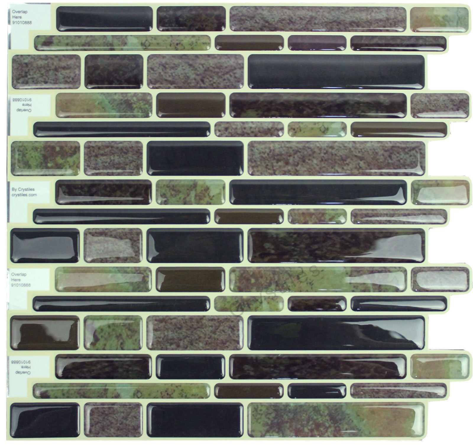Crystiles Peel and Stick Vinyl Wall Stick-on Tile Backsplash for Kitchen and Bathroom Décor Project, Item# 91010888, Multi-Color Marble Style, 10 in X 10 in, 6-Sheet Pack
