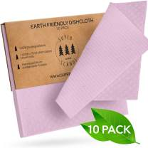 SUPERSCANDI Swedish Dishcloths Reusable Biodegradable Cellulose Sponge Cleaning Cloths for Kitchen Dish Rags Washing Wipes Paper Towel Replacement Washcloths (10 Pack Light Pink)