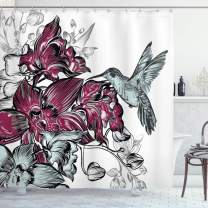 "Ambesonne Hummingbird Shower Curtain, Orchid Flowers Bouquet and a Hummingbird Nature Wildlife Design Print, Cloth Fabric Bathroom Decor Set with Hooks, 84"" Long Extra, Magenta Green"