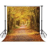 LYWYGG 10x10ft Yellow Leaves Filled with Trees Autumn Scenery Vinyl Fall Photography Backdrops Studio Background Photo Backdrops Studio Props CP-64