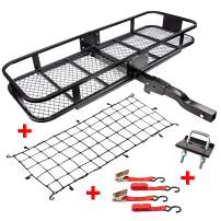 """RaxGo Hitch Mount Cargo Carrier Set with 60"""" x 20"""" x 6"""" Steel Hitch Hauler Basket, Elastic Cargo Net with Attachment Hooks, Two Water-Resistant Ratchet Straps & Two Regular Straps [500 Pound Capacity]"""