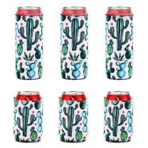 XINRUI Reusable Set of 6 Beer Can Coolers Sleeves,12 oz Neoprene Can Sleeves Insulator Beer Sleeve for Parties, Events or Weddings Bachelorette Parties, Funny Party Favors(cactus)