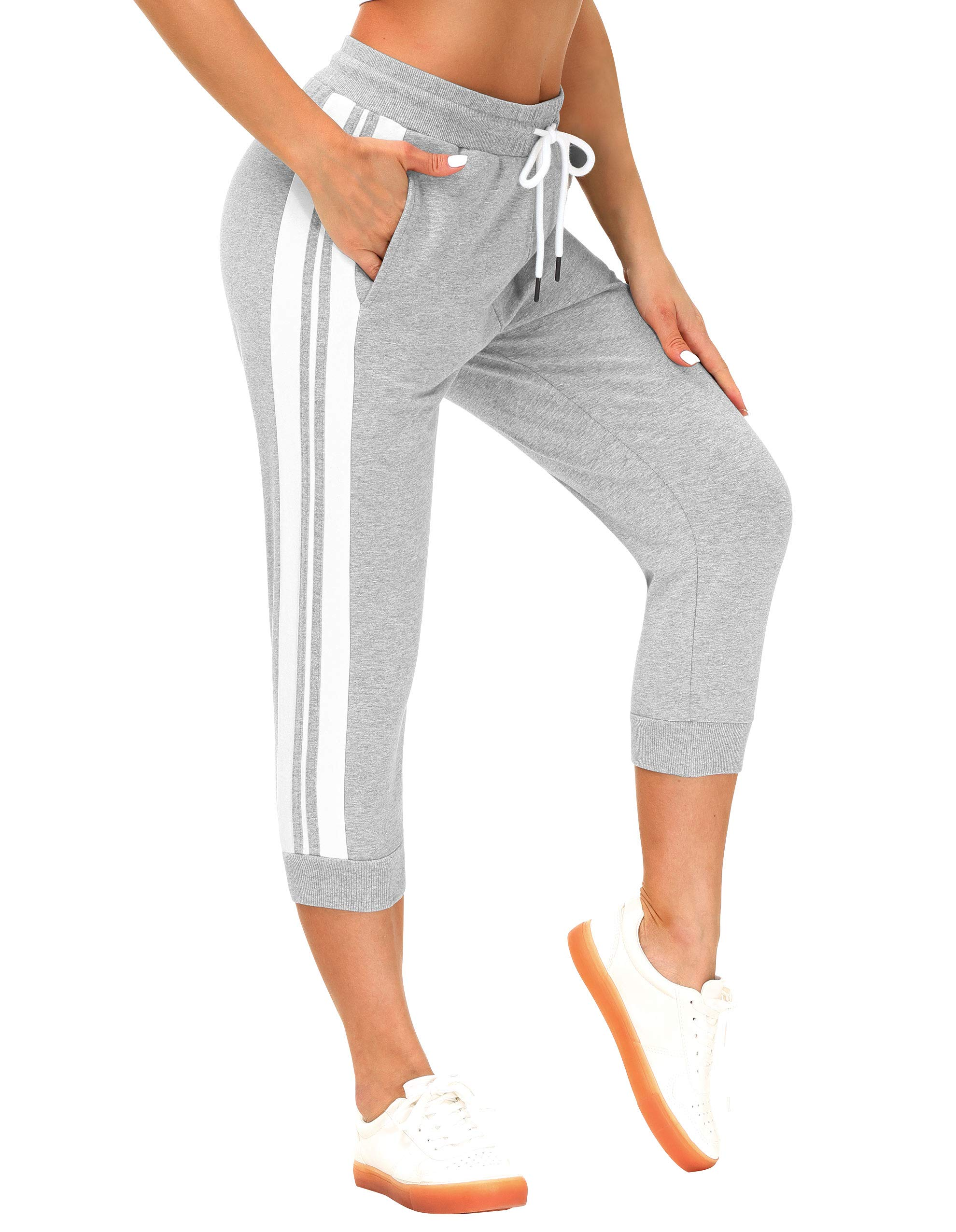 SPECIALMAGIC Capri Sweatpants for Women Sports Running Casual Cropped Jogger Pants with Pockets
