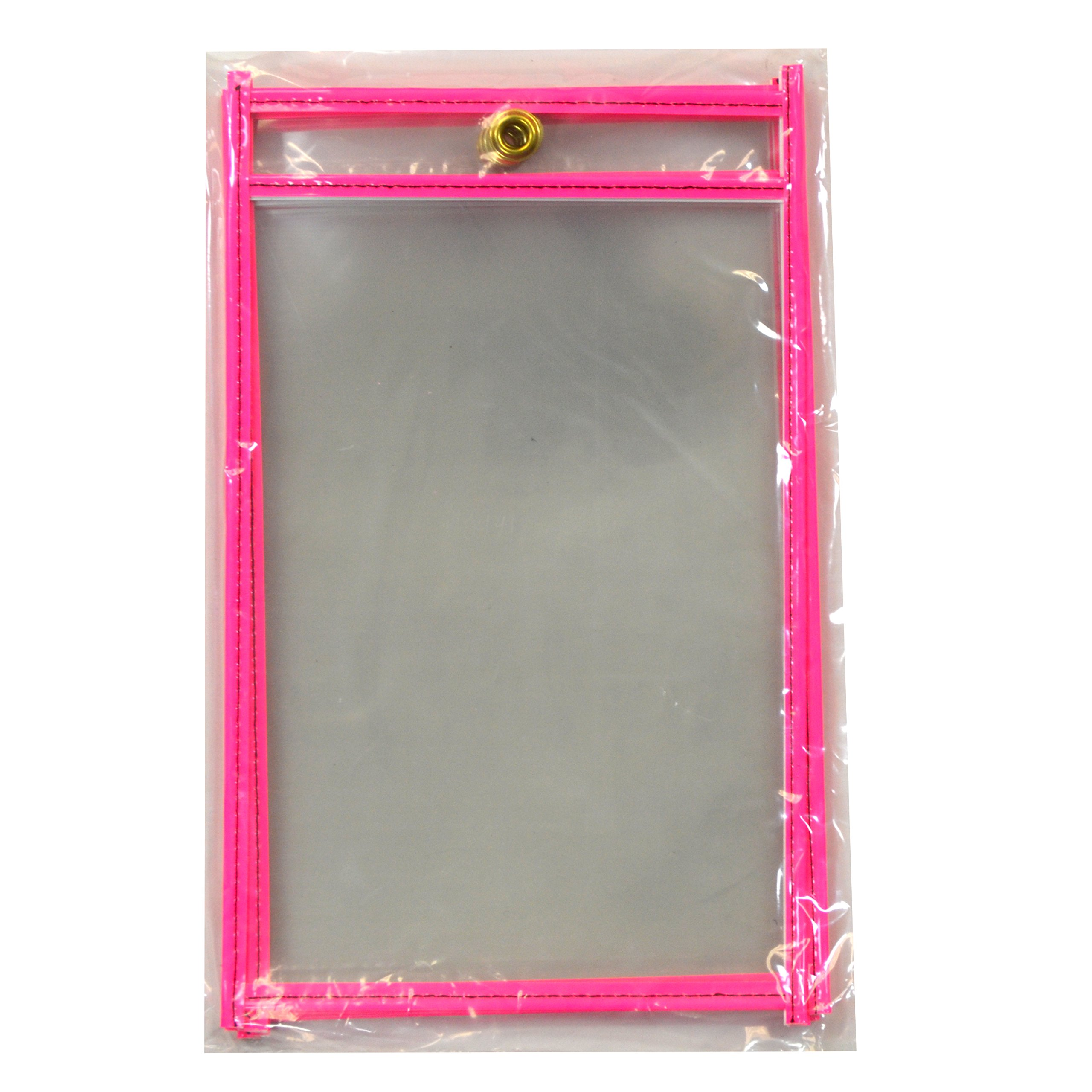 """C-Line Stitched Shop Ticket Holders, Both Sides Clear, 5"""" x 8"""", 5 per Pack, Neon Pink (40491)"""