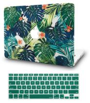 """KECC Laptop Case for New MacBook Air 13"""" Retina (2020/2019/2018, Touch ID) w/Keyboard Cover Plastic Hard Shell Case A1932 2 in 1 Bundle (Palm Leaves Lilies)"""