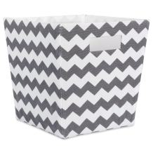 """DII Fabric Trapezoid Storage Container for Nurseries, Offices, Closets, Home Décor, Cube Organizer & Everyday Use,(Large Cube - 13x13x13"""") Chevron Gray"""