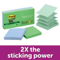 Post-it Recycled Super Sticky Pop-up Notes, 2x Sticking Power, 3 in x 3 in, Bora Bora Collection, 6 Pads/Pack