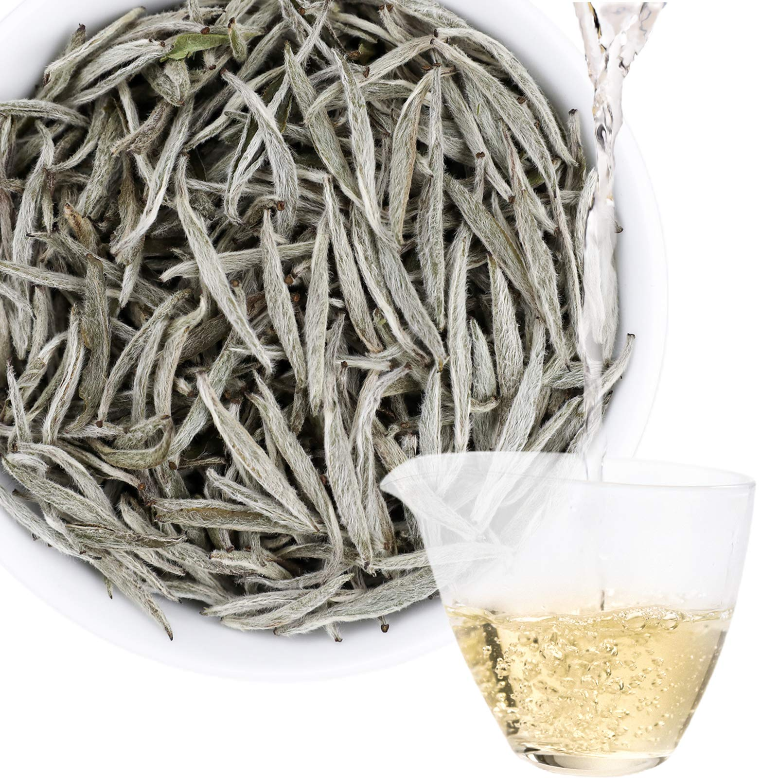 Taimei Teatime Premium Pure White Tea| Loose Leaf Chinese Silver Needle in Tea Tin| Caffeine Level Low Organic Natural Ingredients| Brew Hot or Iced| Rear Healthy Tea Type Rich in Antioxidants| 40+ Cups, 1.76oz