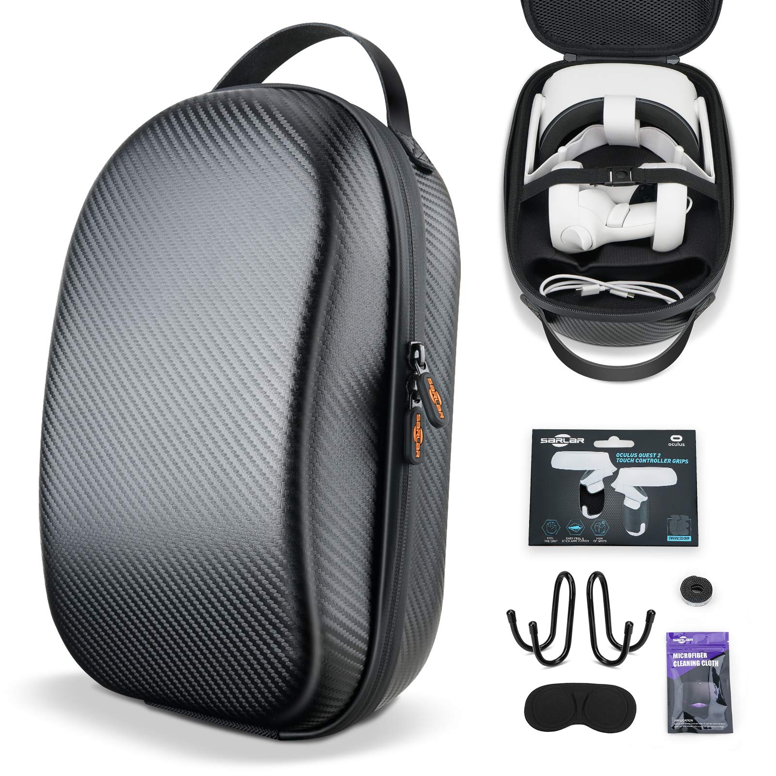 SARLAR Hard Carrying Case for Oculus Quest 2/ Elite Strap Edition/Quest Lightweight and Portable Protection, Custom Carbon Fiber Travel Case Storage VR Gaming Headset and Touch Controller Accessories