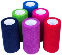 """Ever Ready First Aid Self Adherent Cohesive Bandages 4"""" x 5 Yards - 18 Count, Rainbow Colors"""