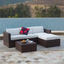 Auro Outdoor Furniture 5-Piece Sectional Sofa Set All-Weather Brown PE Wicker with Water Resistant Olefin Cushions for Patio Backyard Pool   Incl. Waterproof Cover&Clips(White) …