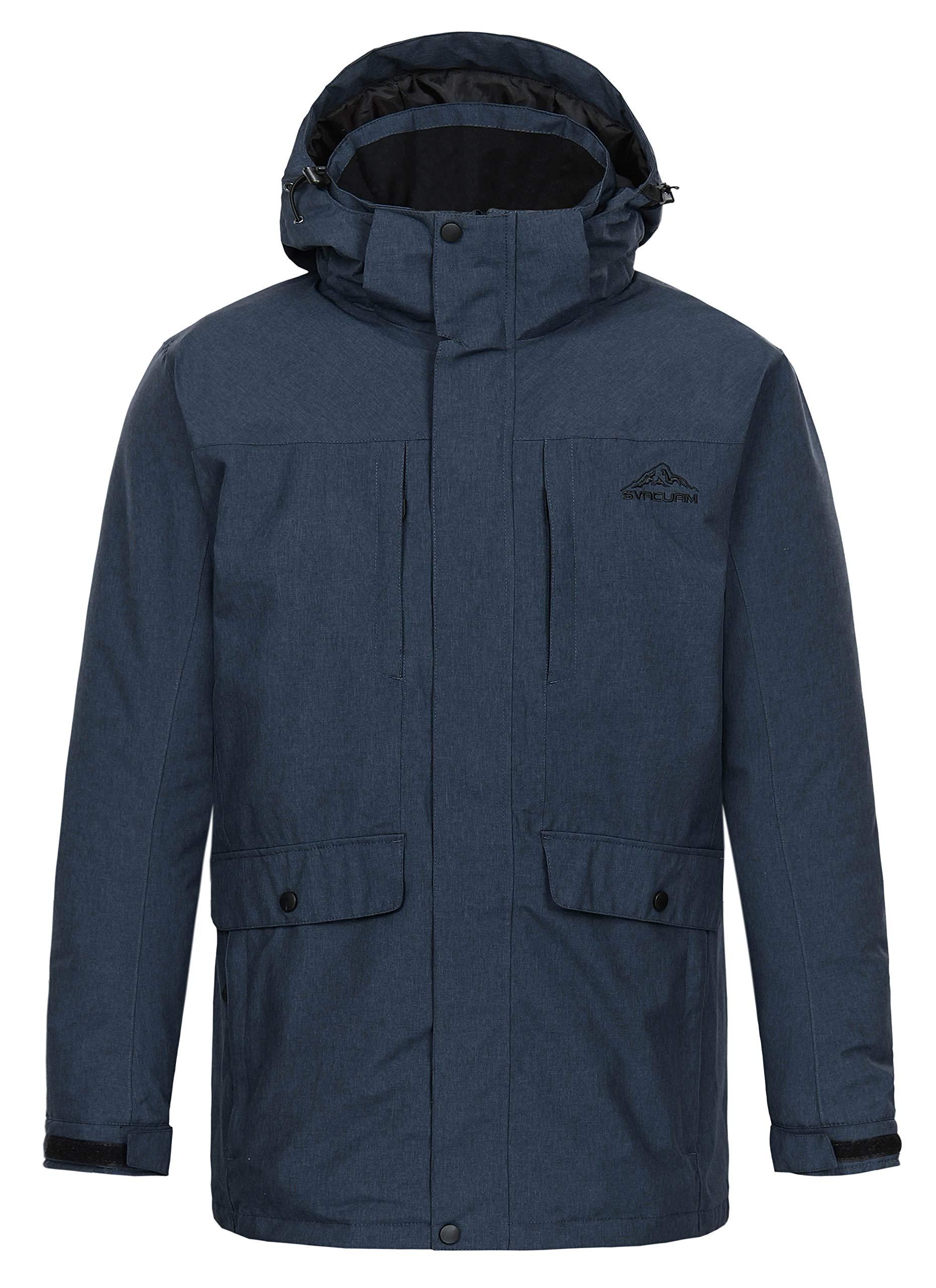 svacuam Men's Outdoor Lined Hooded Waterproof Insulated Winter Parka Rain Jacket Anorak Puffer Coat