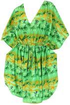 LA LEELA Women's Midi Kaftan Dress Caftan Cover Up Sleepwear Tops Drawstring