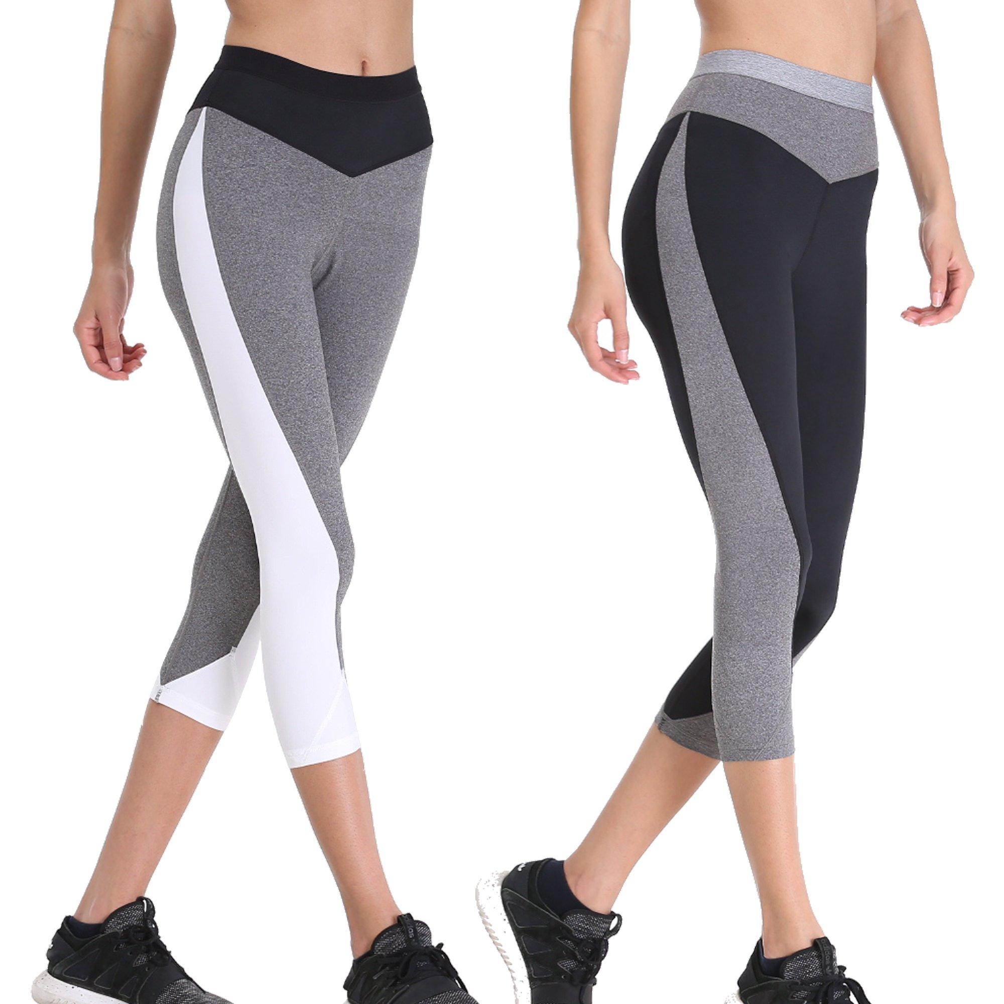 Curve Muse Women Slim Fit High Waist Yoga Pants Leggings Workout Activeware 2PK