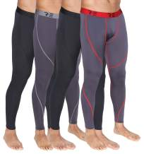 Real Essentials 4 Pack: Men's Compression Pants Base Layer Cool Dry Tights Active Sports Leggings
