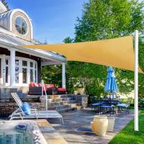 Ohuhu Sun Shade Sail 8' X 10' with 8-Inch Sturdy Hardware Kit Stainless Steel, 100% HDPE Rectangle Shade Canopy Sand Color UV Block, Sun Shades for Patios Yard Garden Outdoor Facility & Activities