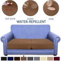Granbest Premium Water-Repellent Couch Seat Cushion Cover, High Stretch Jacquard Fabric Sofa Seat Slipcover Protector (Coffee, 2-Piece loveseat Cushion)
