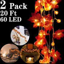 2 Pack Thanksgiving Decorations Pumpkin Maple Leaves String Lights, Total 20 Ft 60 LED Fall Garland with Lights Battery Operated Fairy String Light for Indoor Outdoor Autumn Harvest Home Party Decor