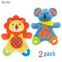 teytoy My First Baby Teething Toy, 2pcs Soft Crinkle Cloth Baby Toys for Toddler, Infants and Kids Perfect for Baby Shower(Lion and Koala)