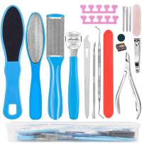Happy Will 17 in 1 Professional Pedicure Kit Stainless Steel Foot Rasp Pedicure Tools Set Dead skin Callus Remover Nail Toenail Care Kit for Women Men Home or Salon(Blue 17PCS)