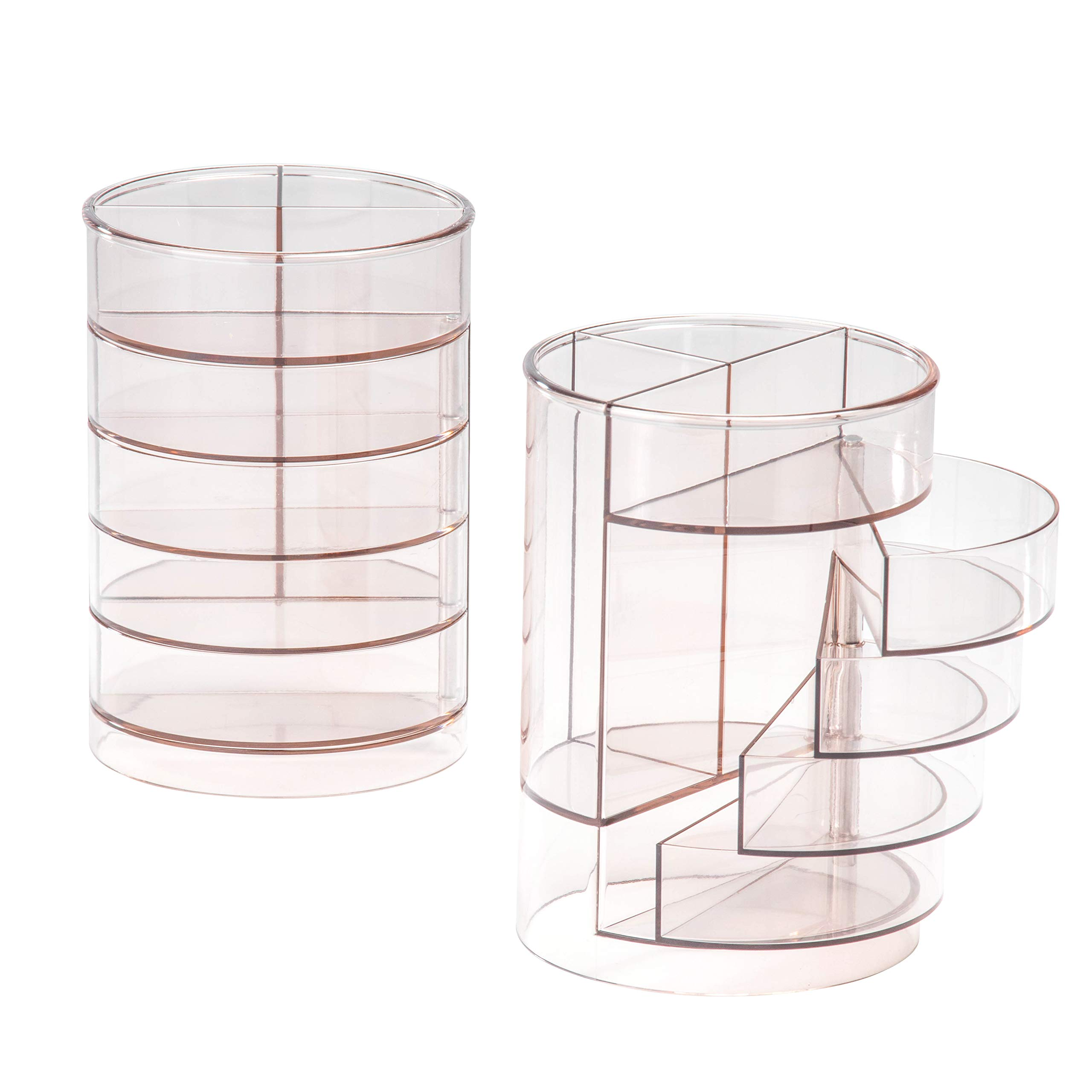 7 Compartment Stationery Organizer - 2-Pack Acrylic Pen Holder, Desk Organization, Desk Caddy, Modern Office Accessories, Clear, 3.5 x 5.1 Inches