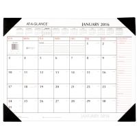 AT-A-GLANCE Monthly Desk Pad Calendar 2016, Two Color, 21-1/4 x 17 Inches, Red/Black (SK1170-00)