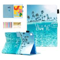 Dteck Case for iPad 10.2 2019 7th Generation - Slim Fit Premium PU Leather Folding Stand Smart Shockproof Cover with Pencil Holder, Auto Wake/Sleep, Wallet Pocket, Beach Live It