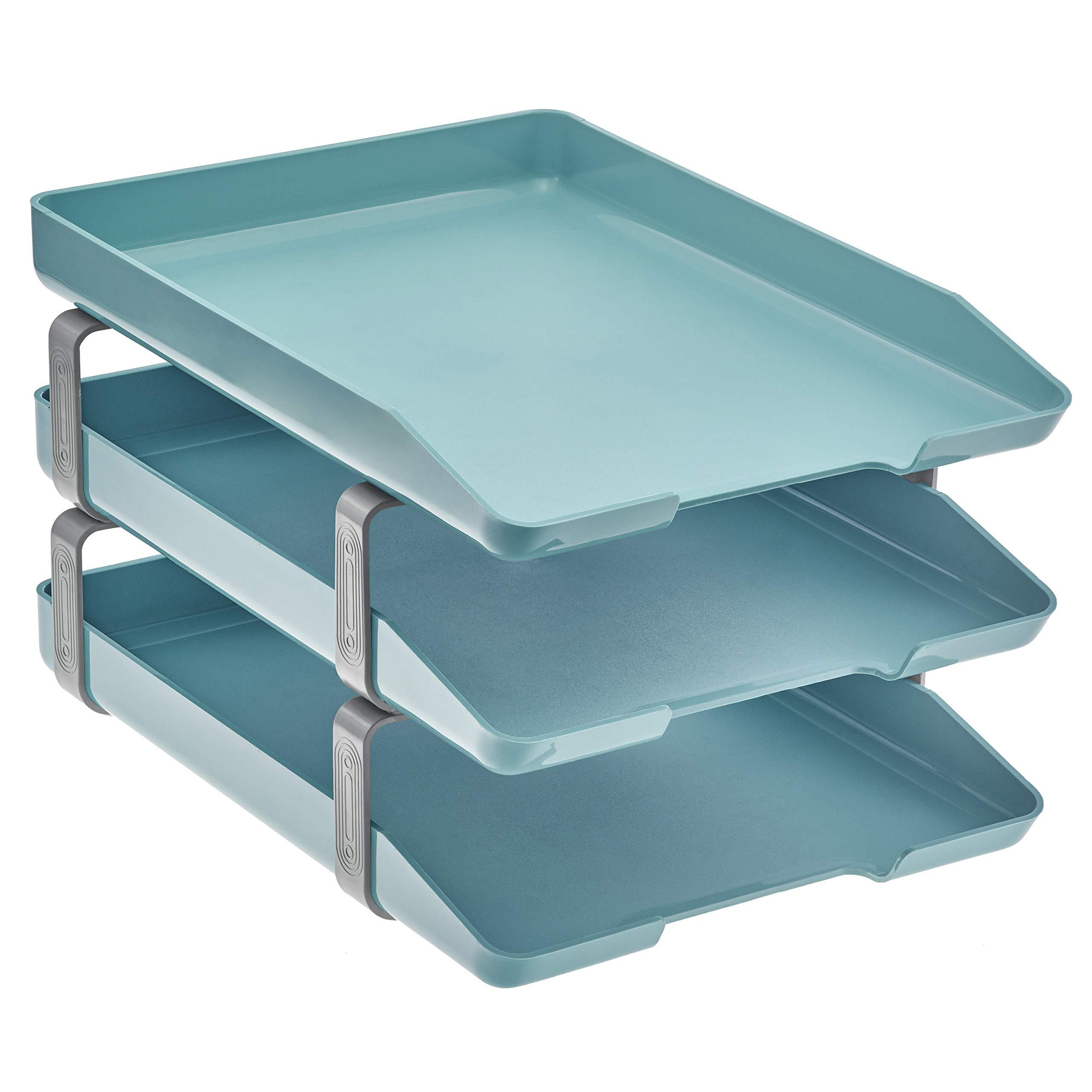 Acrimet Traditional Letter Tray 3 Tier Front Load Plastic Desktop File Organizer (Solid Green Color)