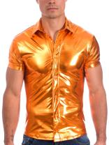 Gary Majdell Sport Mens Liquid Metallic Short Sleeve Button Down Nightclub Shirt
