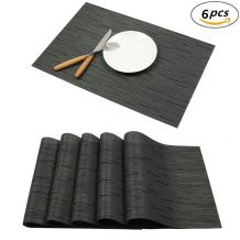 Tennove Placemats Set of 6, Washable Placemats PVC Cross Weave Woven Vinyl Table Mats for Kitchen Dining Table Decoration(Black-D)
