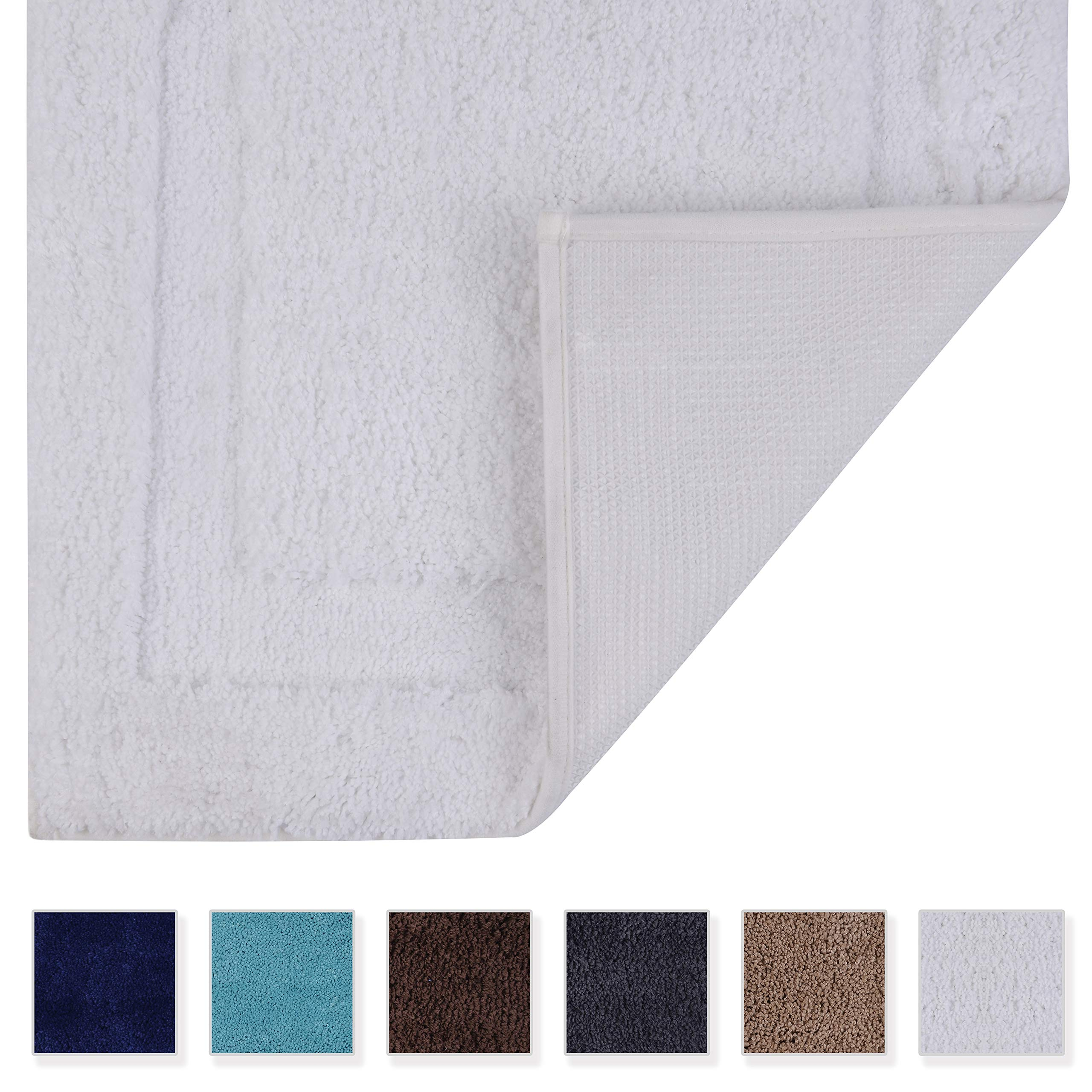 TOMORO Microfibers Non-Slip Bathroom Rug – Quick Dry, Super Absorbent and Soft Luxury Hotel Door Carpet Shower Shaggy Bath Mat Waterproof TPR Non-Skid Backing 24 x 39 inch White