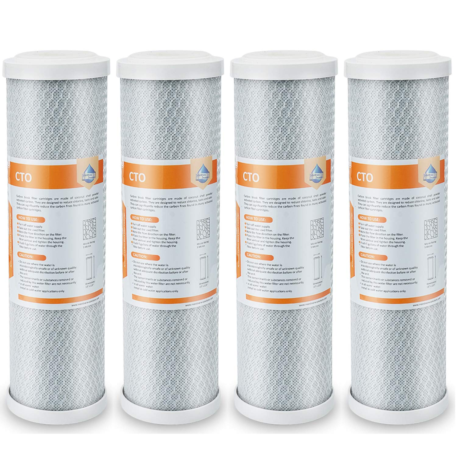 """4-Pack Of 5 Micron Carbon Block Cto Coconut Shell Water Filter Cartridge 10/"""" By"""