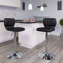 Flash Furniture Contemporary Black Vinyl Adjustable Height Barstool with Vertical Stitch Back and Chrome Base