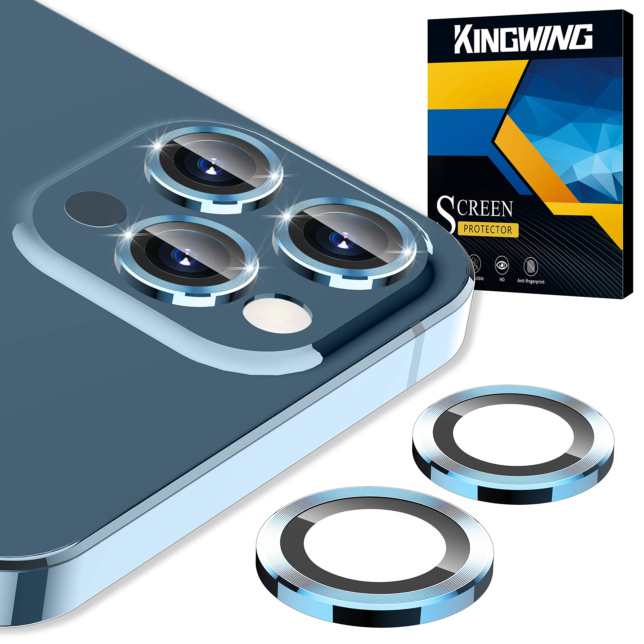[5 Pack] KINGWING Camera Lens Protector Compatible for iPhone 12 Pro Max 6.7 inch, Camera Cover Circle [Night Circle] Tempered Glass - Blue
