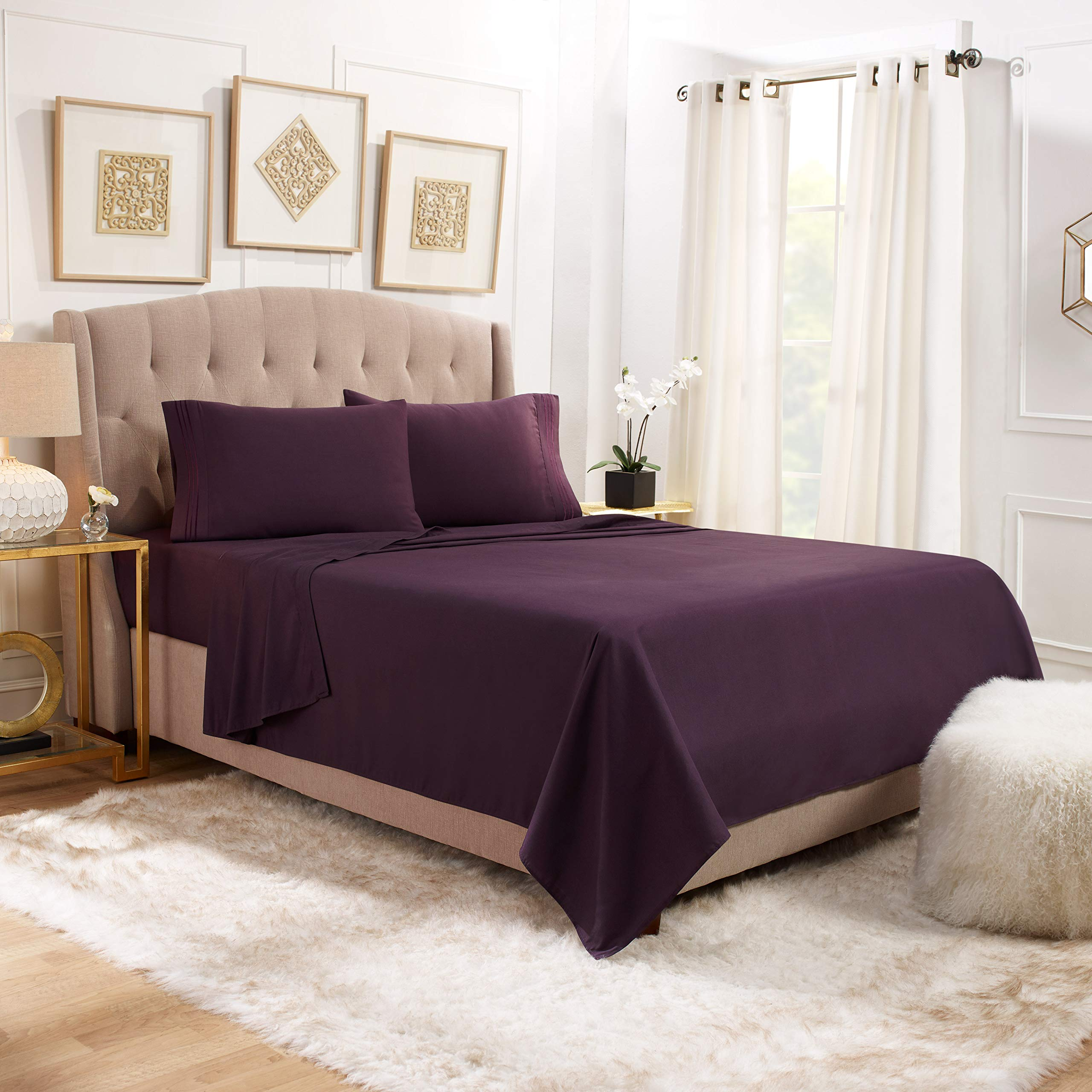 """Empyrean Bedding 14"""" - 16"""" Deep Pocket Fitted Sheet 3 Piece Set - Hotel Luxury Soft Double Brushed Microfiber Top Sheet - Wrinkle Free Fitted Bed Sheet, Flat Sheet and 1 Pillow Case - Twin, Purple"""