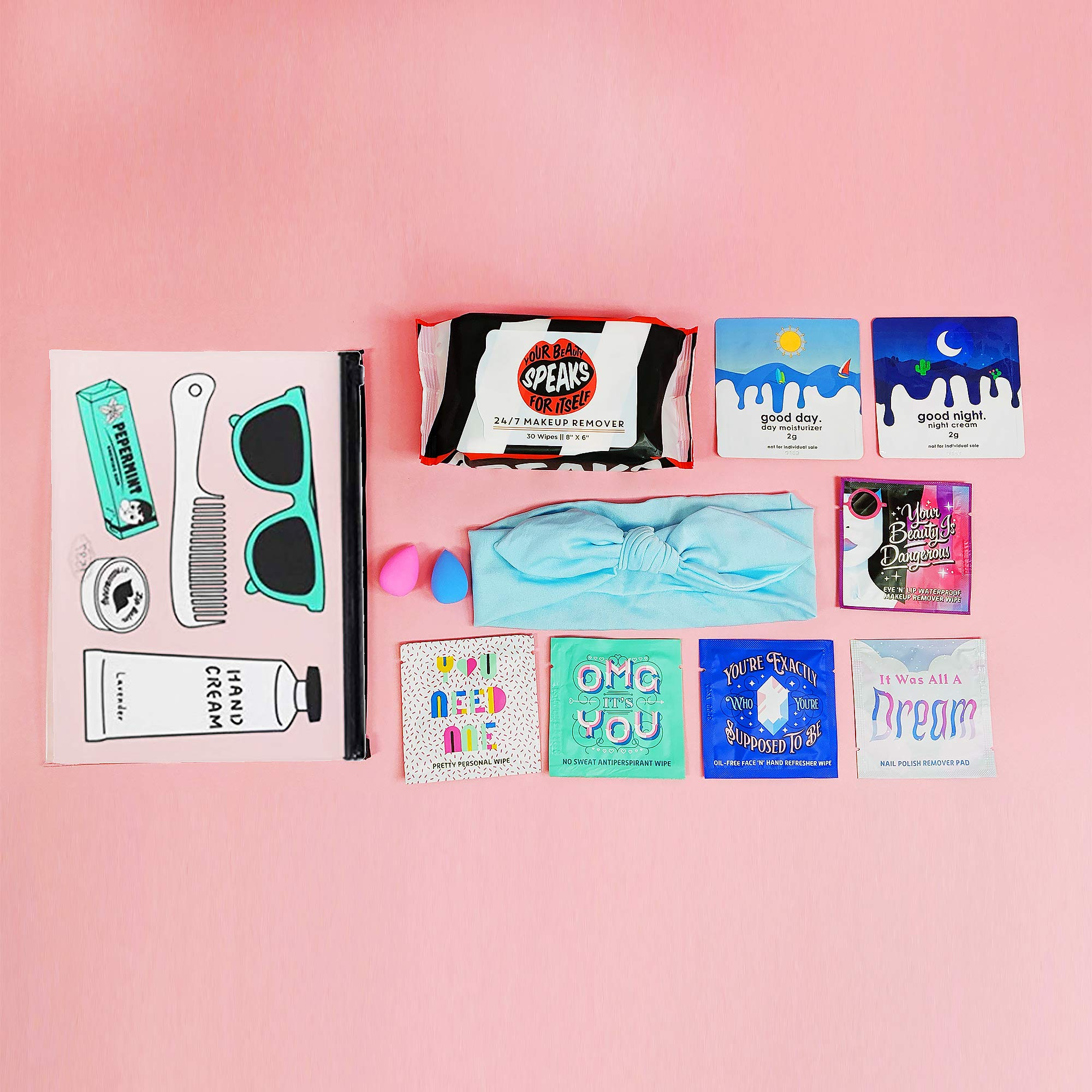 LA Fresh Travel Essentials Wipe Assortment with Makeup Bag | Makeup remover Wipes, Nail polish remover Pads, Feminine Hygiene Wipes, Makeup Sponge & Hairband) TSA Pre-Approved