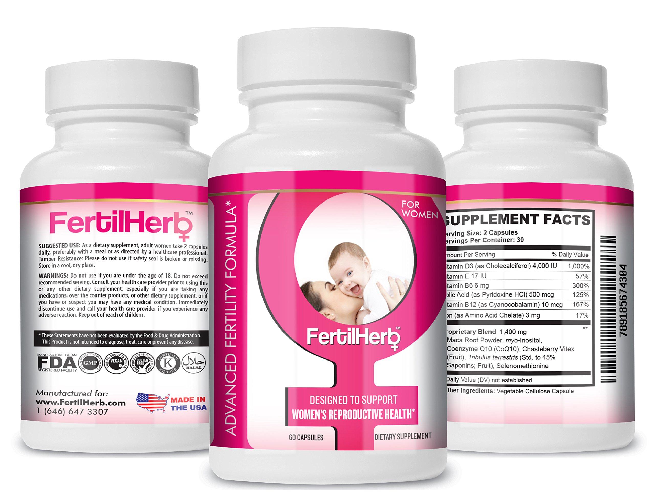 FertilHerb® for Women Fertility Supplement (3-Pack, 3-Month Supply) | Doctor Recommended, All Natural, Antioxidants, Herbal Fertility Formula & Multivitamin for Women, 30 Servings Per Bottle