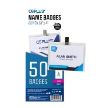 """OS Plus Clip On Style Name Badges, Top-Loading, Precut Inserts, 3"""" X 4"""", 50 Pack"""