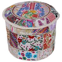 Stylo Culture Indian Footstool Cotton Bohemian Decor Round Stool White Patchwork Embroidered Ottoman Pouf Cover Floral Tuffet Chair 45 cm Floor Cushion Ethnic Bean Bag Living Room