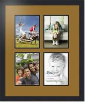 ArtToFrames Collage Photo Frame Double Mat with 4-6x8 Openings with Satin Black Frame and El Dorado mat.