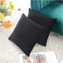 COMFORTLAND New Year/Christmas Decorative Couch Pillow Covers 18x18 Black: 2 Pack Cozy Soft Velvet Square Throw Pillow Cases for Farmhouse Sofa Bed Chair Home Decor Decorations