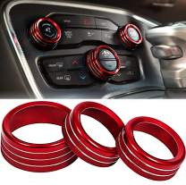 ToolEpic for Dodge Challenger Charger Accessories 2015-2020 - Decal Trim Rings Set of 3 - Best Aluminum Alloy Ruby Red - Air Conditioning Volume Radio Button Knob Cover, Perfect for Decoration