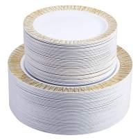 Select Settings 100 pc. Disposable Plastic Plates 50 Dinner Plates & 50 salad Plates Disposable Plate Combo Sets (X-Design Gold Plates)