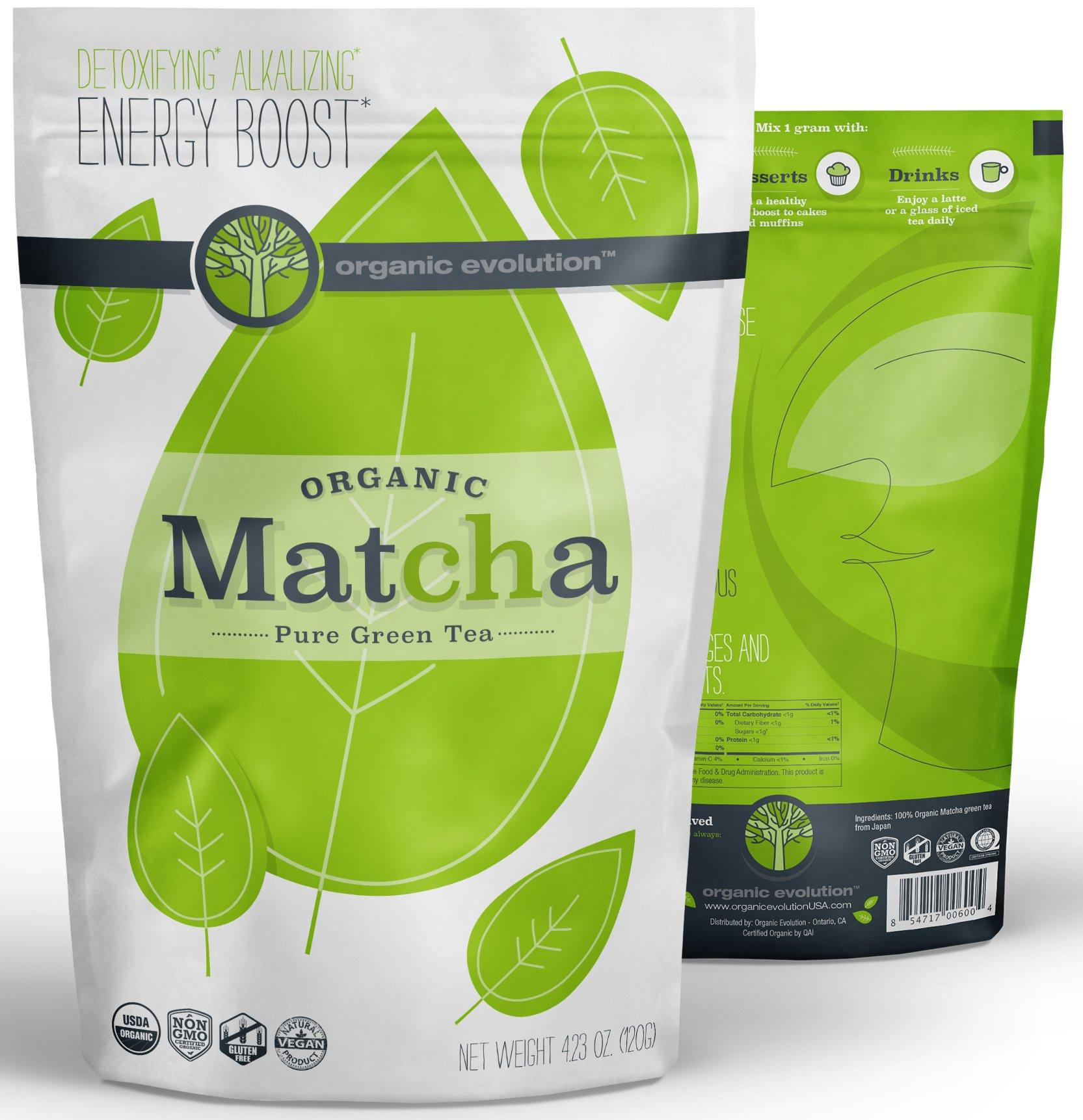 Organic Evolution - Japanese Matcha Green Tea Powder - USDA Certified, Authentic Japanese (Kyoto) Powder - Lattes, Baking, Recipes, Smoothies - Energy, Antioxidants [120g Value Size]