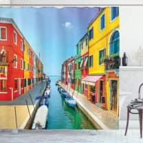 """Ambesonne City Love Shower Curtain, Sea View with Colorful Buildings Urban Life Composition with Boats Photography, Cloth Fabric Bathroom Decor Set with Hooks, 75"""" Long, Coral Green"""