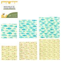 Reusable Food Wraps 6 Pack, Eco Friendly Organic Beeswax Warp 2 X (S, M, L)